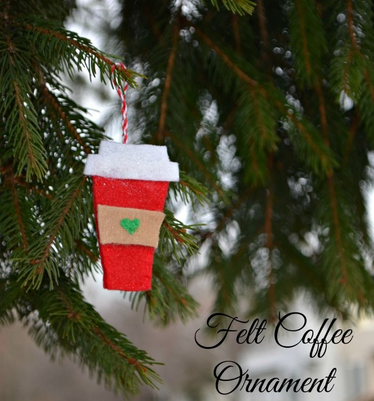 Create these felt coffee cup ornaments to hang in your home or on a tree, courtesy of One Artsy Mama. These cute little ornaments can be made with only a little bit of sewing experience.