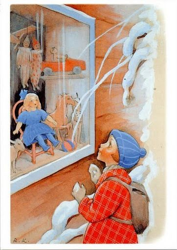 God Jul ... Finnish illustrator, RudolfKoivu .....  the Christmas doll