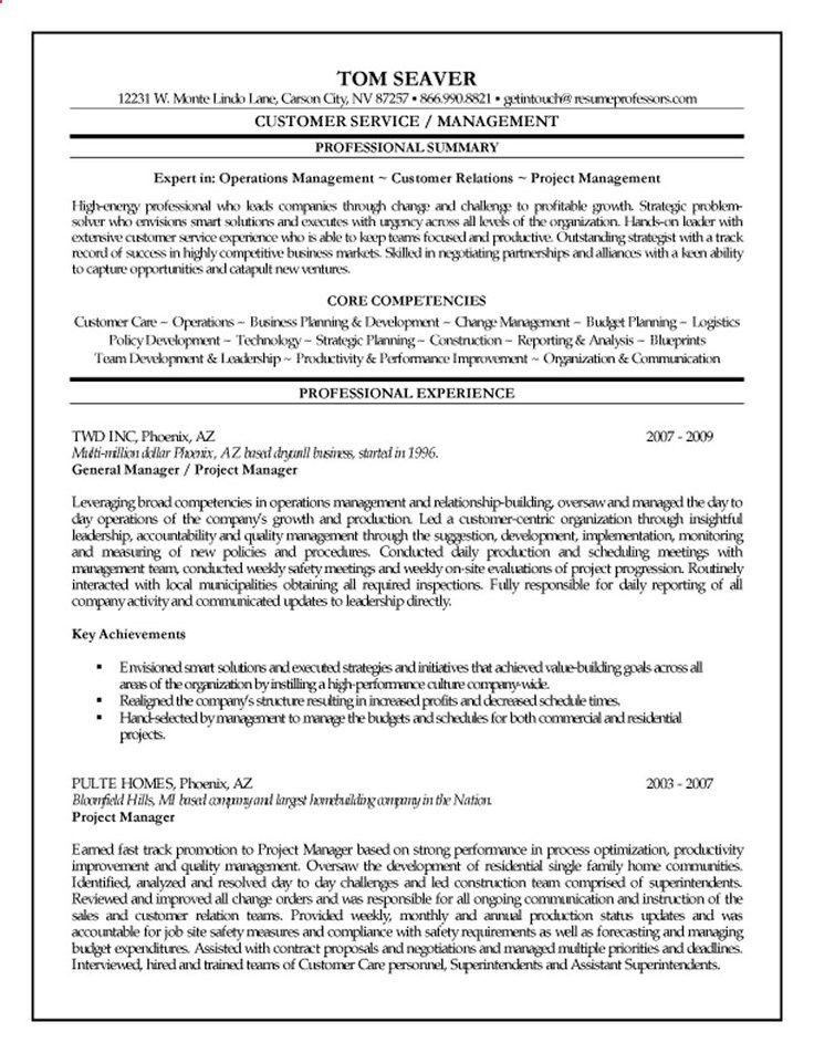 Property Manager Resume Example Project Manager Cv Examples And - construction project manager resume examples