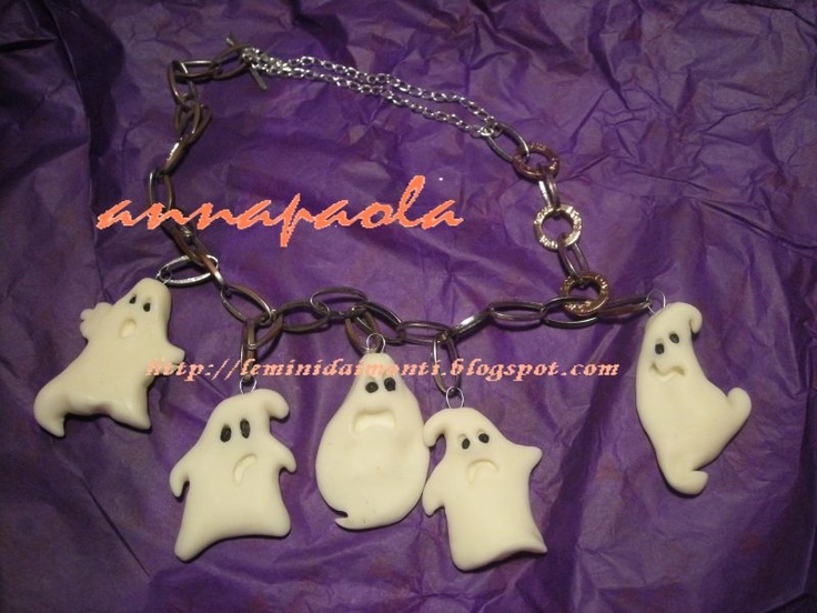 Fimo Ghost - tutorial http://leminidaimonti.blogspot.it/2010/10/fantasmi-di-fimo-la-collanina-di.html
