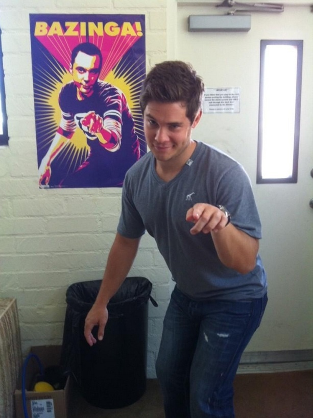 Adam DeVine doing 'Bazinga' (#Inception of humor)