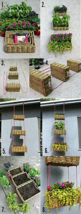 Herb garden ideas out of basket sets I can purchase at discount stores like Ross and TJMaxx