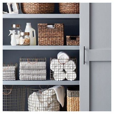 Breathe a breath of fresh air into your bathroom's décor with a little help from the Refresh & Reorganize Bath Storage Collection. This stylish assortment of wicker baskets, storage jars and bath towels boast a fresh, refined look that promises to perfectly complement your bathroom or laundry room décor. A quick and easy way to spruce up your boring old storage shelves too. A place for everything and everything in its place!