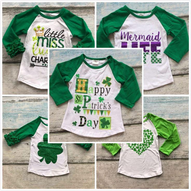 Детские девушки мальчик Ул. Мартин день сердце Трилистники печати хлопок бутик топ Футболка одежда зеленый малыш весна носить с длинным рукавом #CLICK! #clothing, #shoes, #jewelry, #women, #men