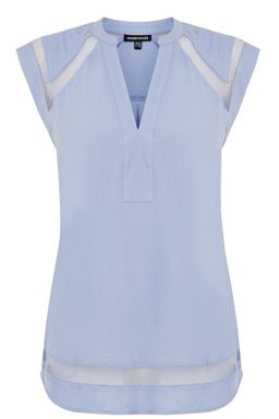 This sleeveless top features a collarless neckline and mesh inserts to yoke and hem. Length of top, from shoulder seam to hem, 66cm approx. Height of model shown: 5ft 10 inches/178cm. Model wears: UK size 10.Fabric:Main: 100.0% Viscose.  Trim: 100.0% Polyester.Wash care:Machine WashProduct code: 02233645 £22.00