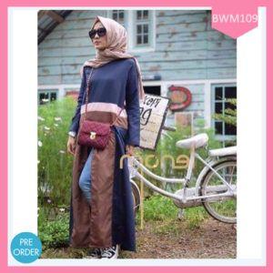 Dress Wanita Muslimah Choco Navy Terlaris