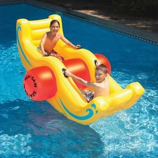 Your kids will just love this big inflatable Sea-Saw Rocker, designed for two people to double the fun. Made of heavy gauge vinyl, the rocker has built-in handles. Durable heavy gauge vinyl constructi