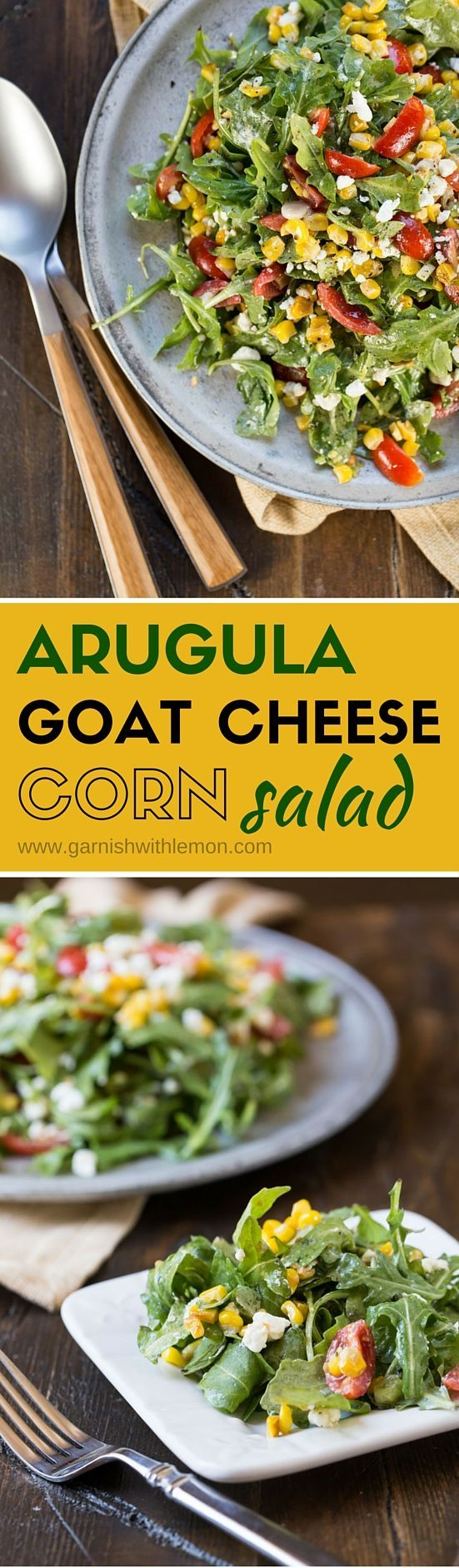 This easy, make-ahead Arugula Goat Cheese Corn Salad has a simple ingredient list that is packed with flavor! Don't have fresh sweet corn? Frozen corn makes a great substitution.
