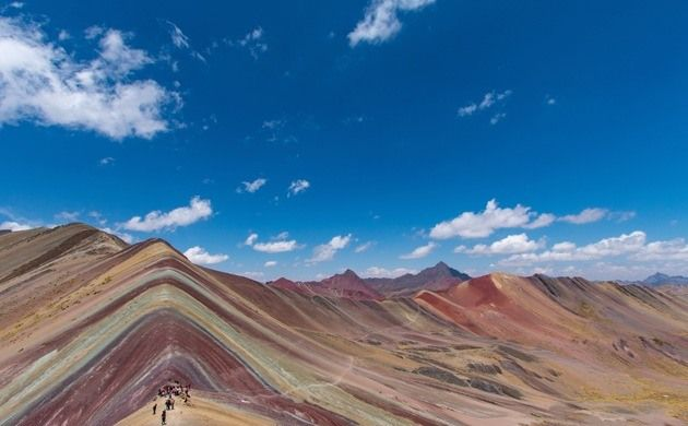 A remote candy-striped mountain in the Peruvian Andes straight out of the pages of Dr. Seuss.