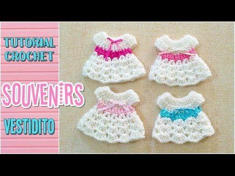 Souvenir a crochet para baby shower vestidito, paso a paso - YouTube