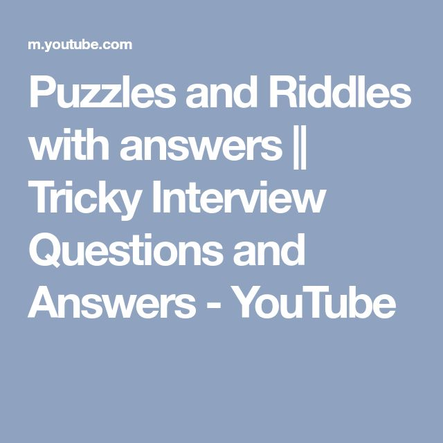 Puzzles and Riddles with answers || Tricky Interview Questions and Answers - YouTube