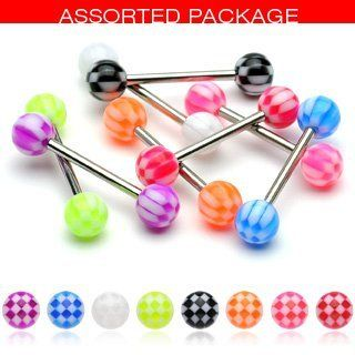 Body Accentz 8 Checker Acrylic Tongue Ring 14g - In Assorted Colors Body Accentz Tongue Ring. $6.99