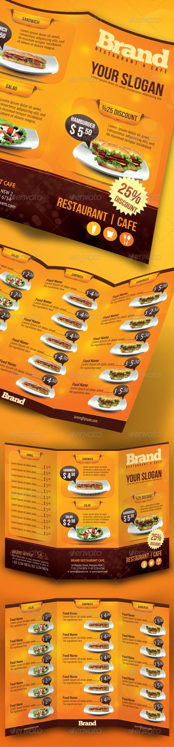 TRIFOLD RESTAURANT CAFE MENU. Get it customized as per your needs in only $22.00 http://www.devloopers.com/design/food-menu/fast-food-menu/trifold-brochure-restaurant-cafe-menu