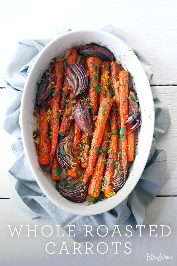 The perfect dish: hearty and healthy. Whole Roasted Carrots recipe via @PureWow