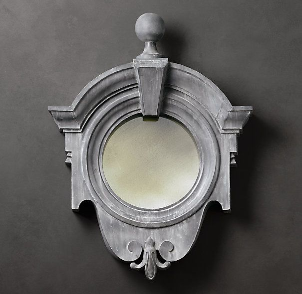 "European Zinc Dormer Mirror Fleur-de-Lis | Restoration Hardware | 41.5""w x 54""h x 11""d | 1195.00"