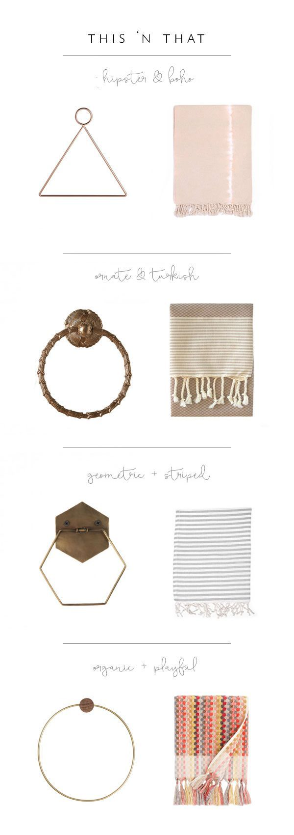 hand towel and towel ring pairings - boho eclectic | via coco kelley