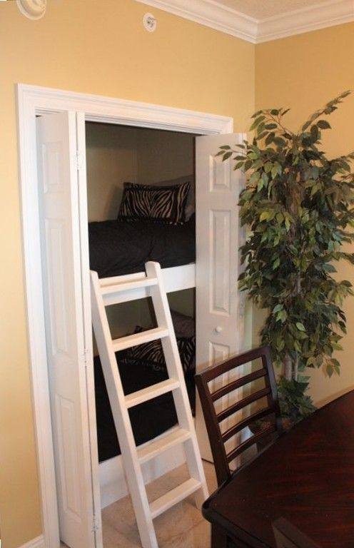 great for grandkids guest room !! Bunk beds stacked in a closet. Kids would love this & it leaves more room for toys.