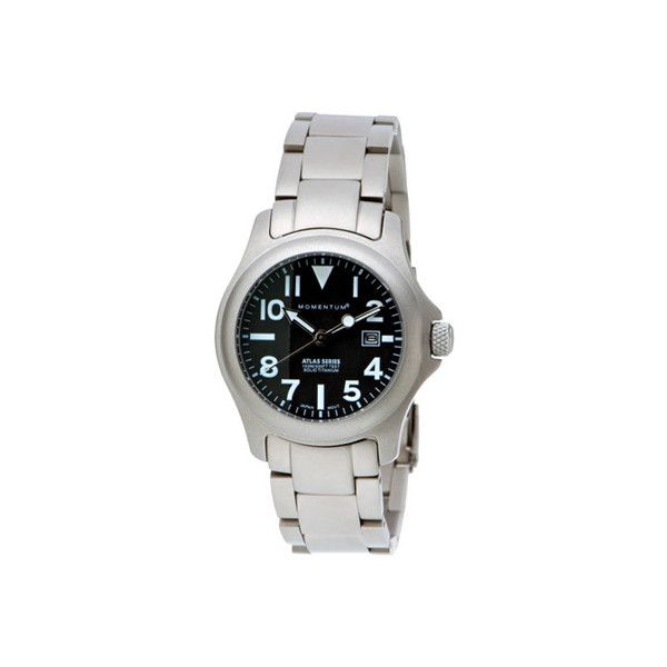 Women's Momentum Watch Atlas Ti Titanium ($195) ❤ liked on Polyvore featuring jewelry, watches, analog watches, black, analog digital watch, analog digital watches, oversized watches, sport watches and water resistant watches