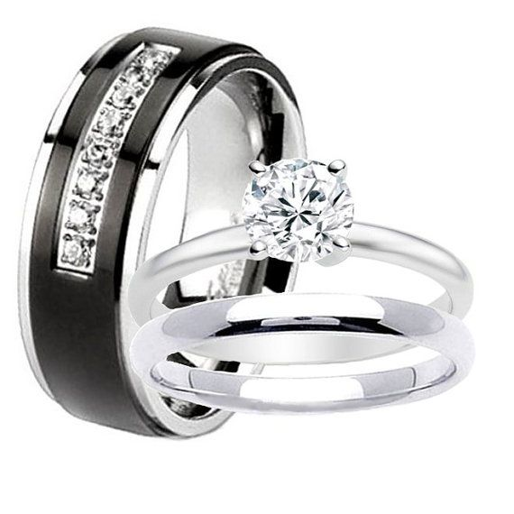 Nice Black TITANIUM Men Wedding Band u pc Women Stainless Steel Engagement Solitaire Round Cz Bridal Ring Set His and Hers Wedding Rings