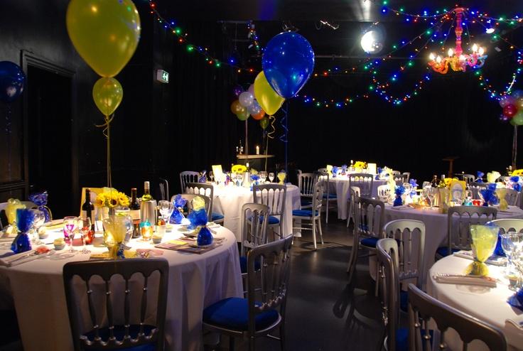 Fairy lights, balloons, sunflowers and tea lights