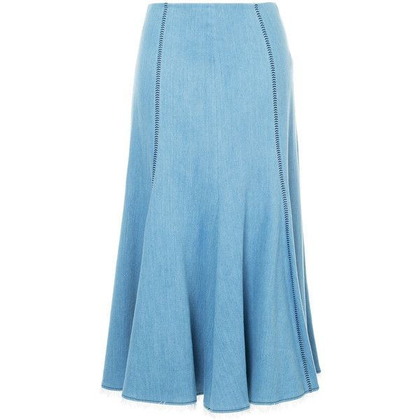 Gabriela Hearst long denim skirt ($1,750) ❤ liked on Polyvore featuring skirts, blue, long maxi skirts, light blue maxi skirt, long blue skirt, light blue skirts and denim skirt