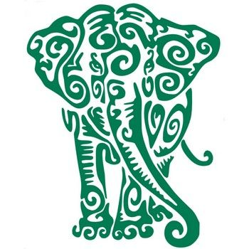Tribal Elephant Vinyl Decal Front View - Multiple Colors