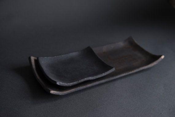 Handmade handcrafted stoneware sushi plate by LaimaCeramics