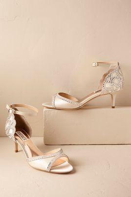 White Low Heel BHDLN Wedding Shoes