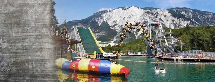 Must. Do.   area 47 blobbing austria | Get wet: Bathing lake  water fun on 20.000 m² in the Ötztal Valley