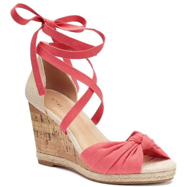 Apt. 9® Cheery Women's Wedge Sandals ($24) ❤ liked on Polyvore featuring shoes, sandals, orange oth, orange shoes, wedge heel sandals, espadrille sandals, orange wedge sandals and lace up sandals