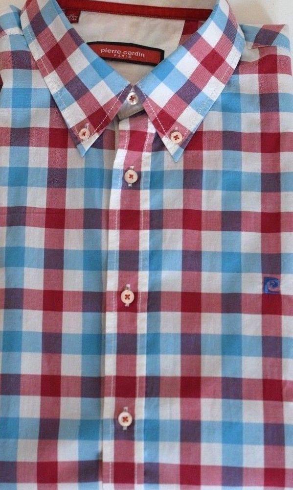 002db85acb047 PIERRE CARDIN Men Short Sleeve Button-Down Shirt 100% Cotton Plaid ...