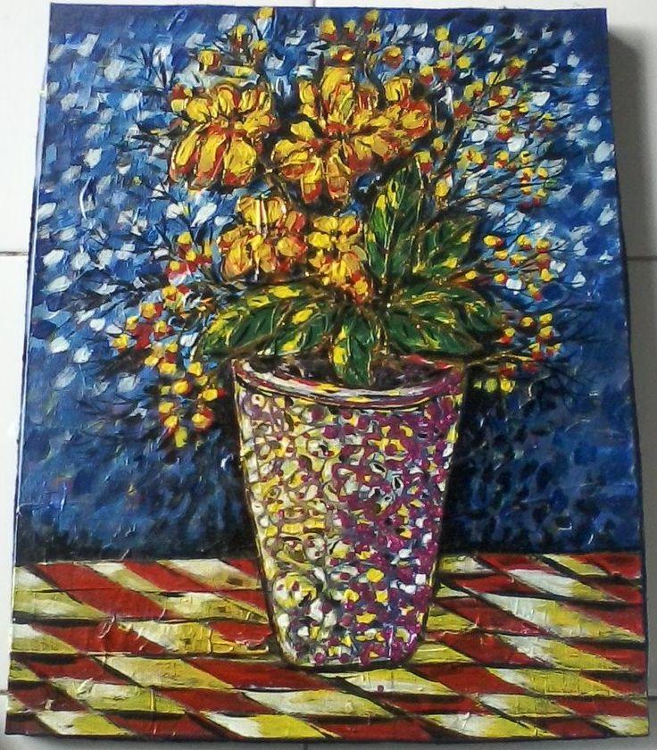 Lukisan bunga - oil on canvas - 50 x 60 cm - harga ; nego