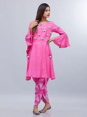 Pink Khadi Mul Kori Shells Embroidered Kurta