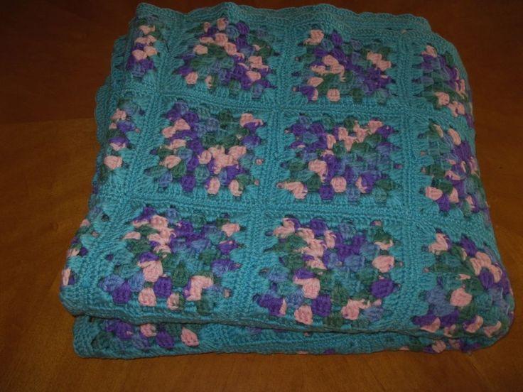 Vintage Turquoise Granny Square Handmade Crochet Afghan 65 x 65 Throw Blanket #Handmade #Grannystyle