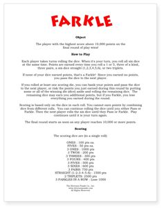 Farkle rules