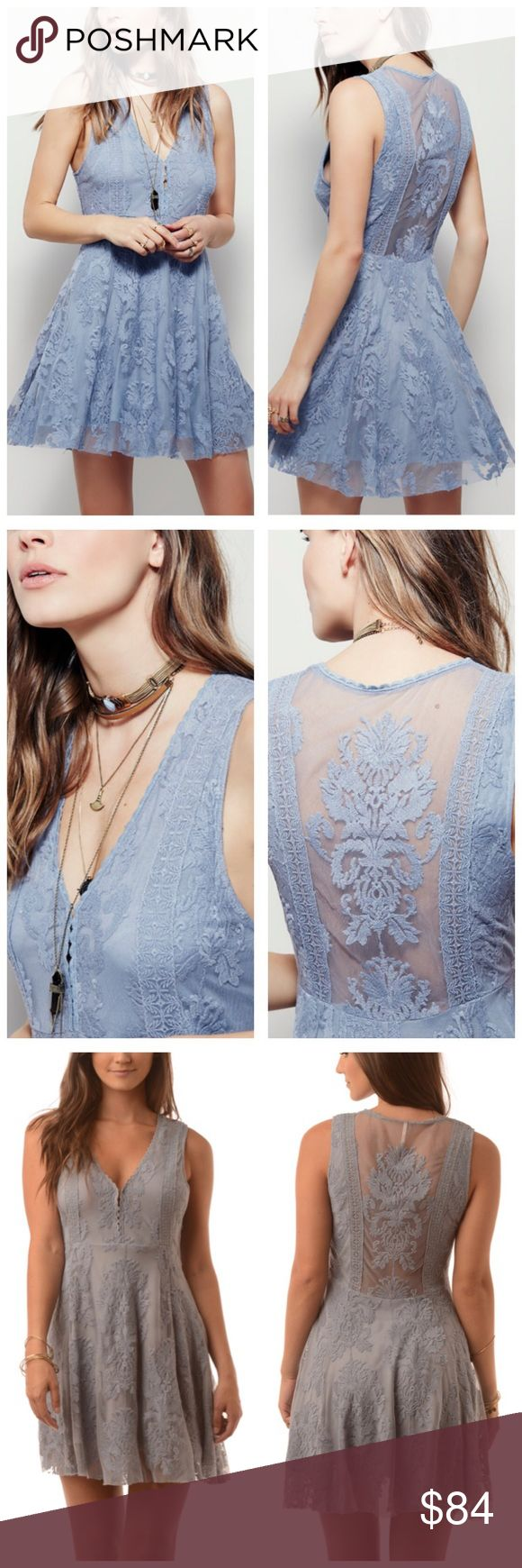 "Free People Lace Dress 10 New with tags Free People ""reign over me"" Lace sleeveless dress, color is ""blue grey"" (light Periwinkle), size 10 Free People Dresses"