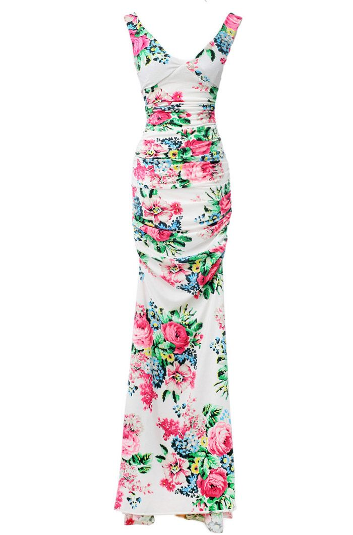 Floral Print Ladylike Style V-Neck Sleeveless Polyester Women's Maxi-DressVintage Dresses | RoseGal.com