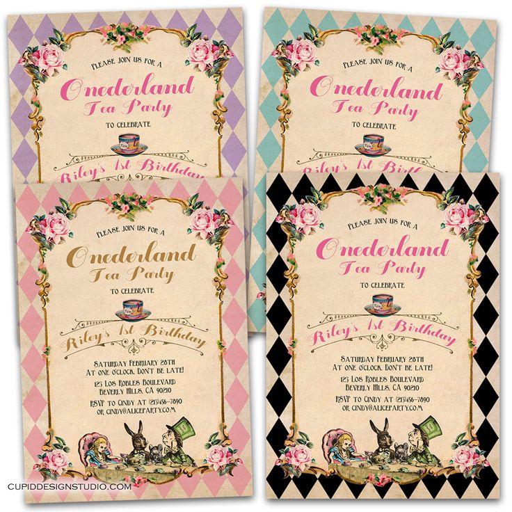 mad hatter teparty invitations pinterest%0A Alice in Onederland  st birthday invitations  u          u      Mad Hatter TeaMad