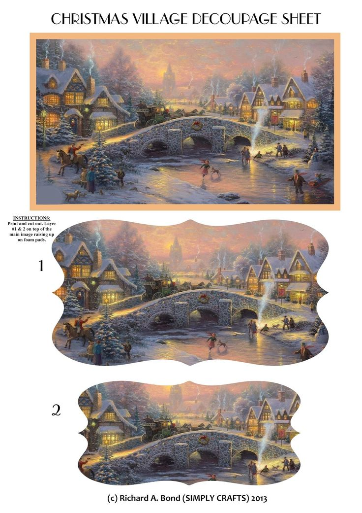 CHRISTMAS VILLAGE PYRAMID DECOUPAGE SHEET ( 2 shape versions available - rectangle & fancy label shape)