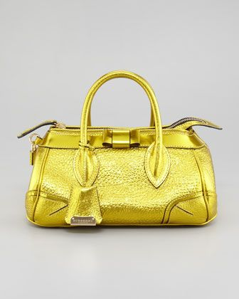 The Blaze Metallic Leather Satchel Bag by Burberry at Neiman Marcus.