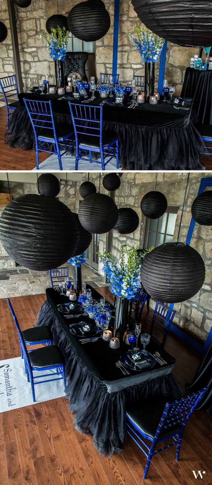 Black, silver and hues of blue combine to make our Royal Blue themed wedding truly regal. See the rest of the shoot here: http://www.weddingstar.com/beverly-clark-collections/beverly-clark-the-crowned-jewel
