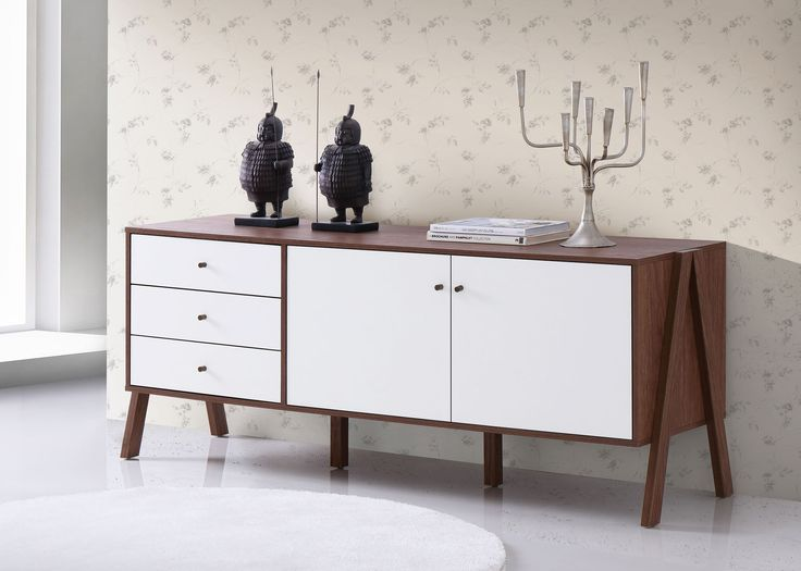 Harlow Mid Century White And Walnut Veneer Sideboard Storage Cabinet