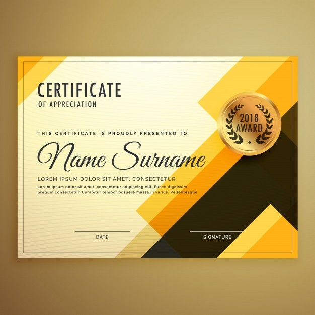 Golden abstract diploma Free Vector