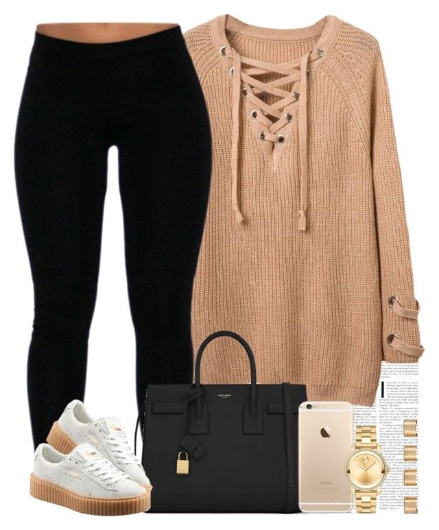 """I'm sorry y'all. School has been lowkey kicking me in the rear end lately "" by livelifefreelyy ❤ liked on Polyvore featuring Yves Saint Laurent, Puma, Movado and Maison Margiela"
