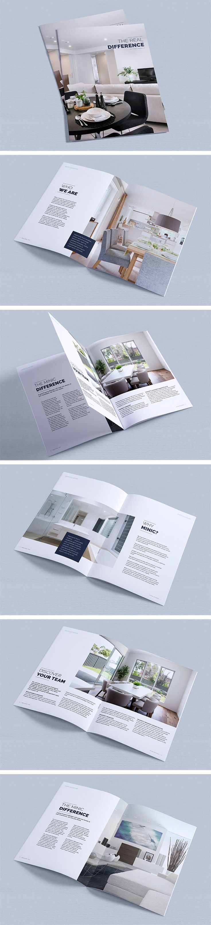 Graphic Design Brochure, Real Estate booklet, magazine layout A4 | grid, pamphlet, property development, minimalist