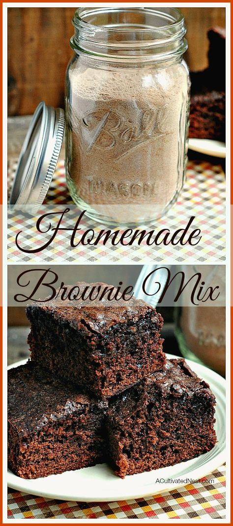 Ridiculously easy homemade brownie mix: Never buy boxed brownie mix again! Not only frugal but better for you since it eliminates all those crazy unknown ingredients. Makes a great gift too! | food gift, chocolate recipe, dessert