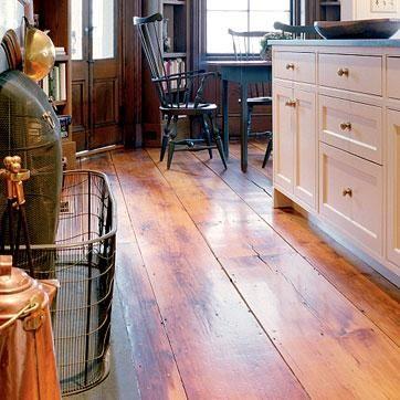 Wide plank wood floor.