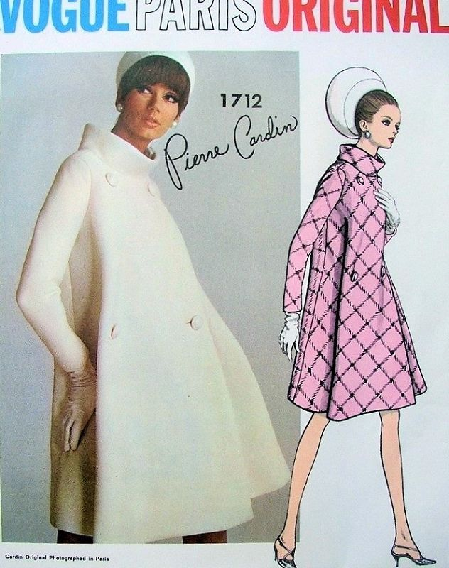 1960s MOD Pierre Cardin Coat Pattern VOGUE PARIS Original 1712 Fab Double Breasted Bias Cut Coat Standing Collar Unique Design Bust 34 Vintage Sewing Pattern