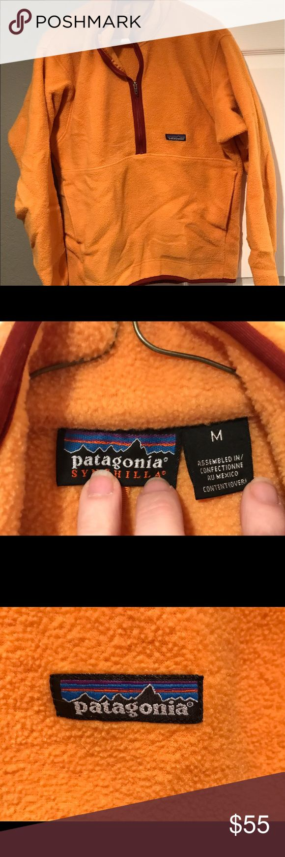 Patagonia Fleece Patagonia fleece half-zip pullover. Yellow/orange in color with red pipping. Barely worn and without stains or tears. Patagonia Tops