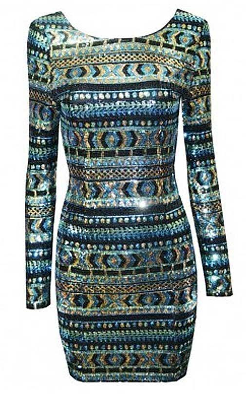 Aztec Black and White Longsleeve Tribal Bodycon Mini Dress Large